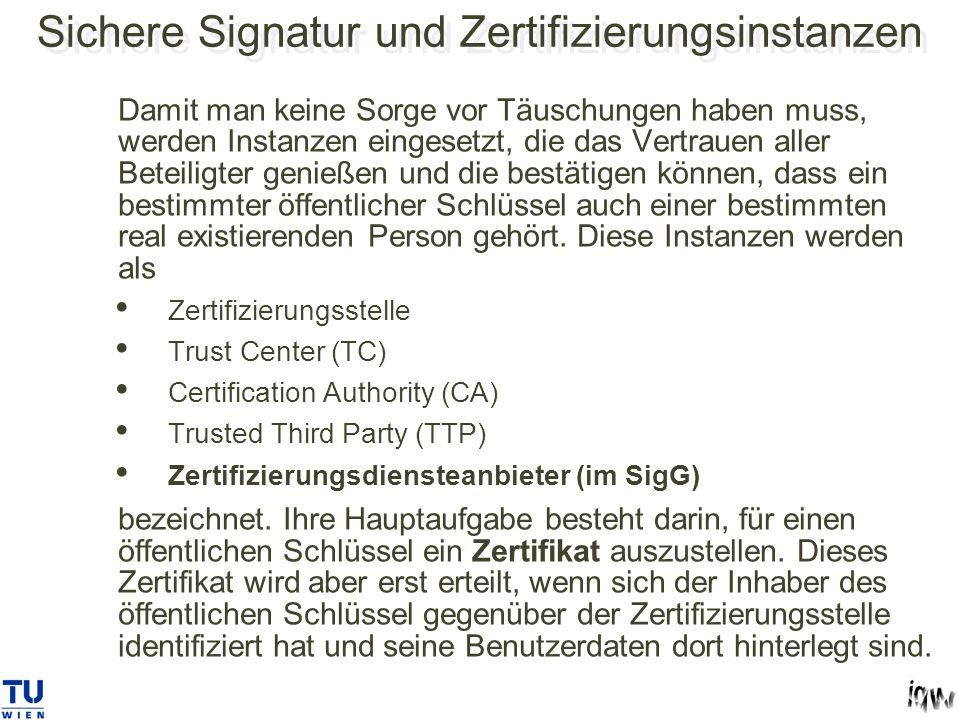 Sichere Signatur und Zertifizierungsinstanzen