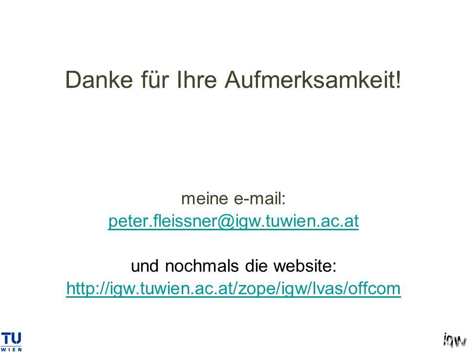 Danke für Ihre Aufmerksamkeit. meine e-mail: peter. fleissner@igw