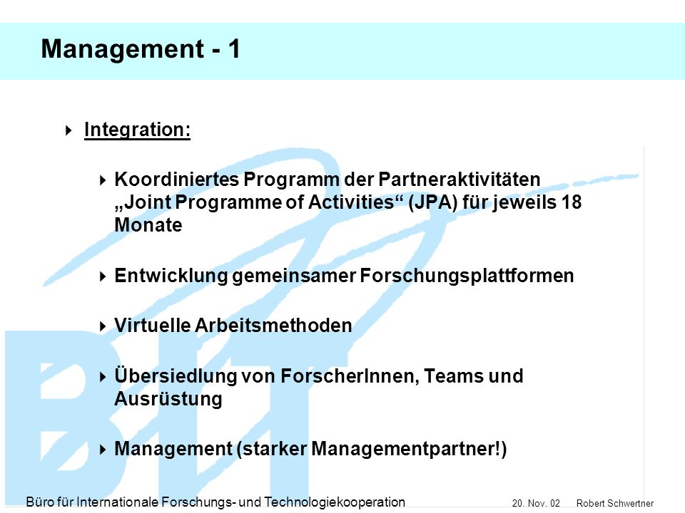 Management - 1 Integration: