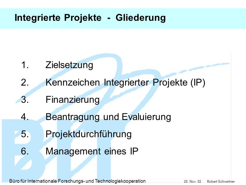 Integrierte Projekte - Gliederung