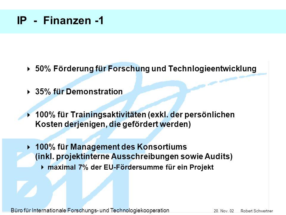IP - Finanzen -1 50% Förderung für Forschung und Technlogieentwicklung