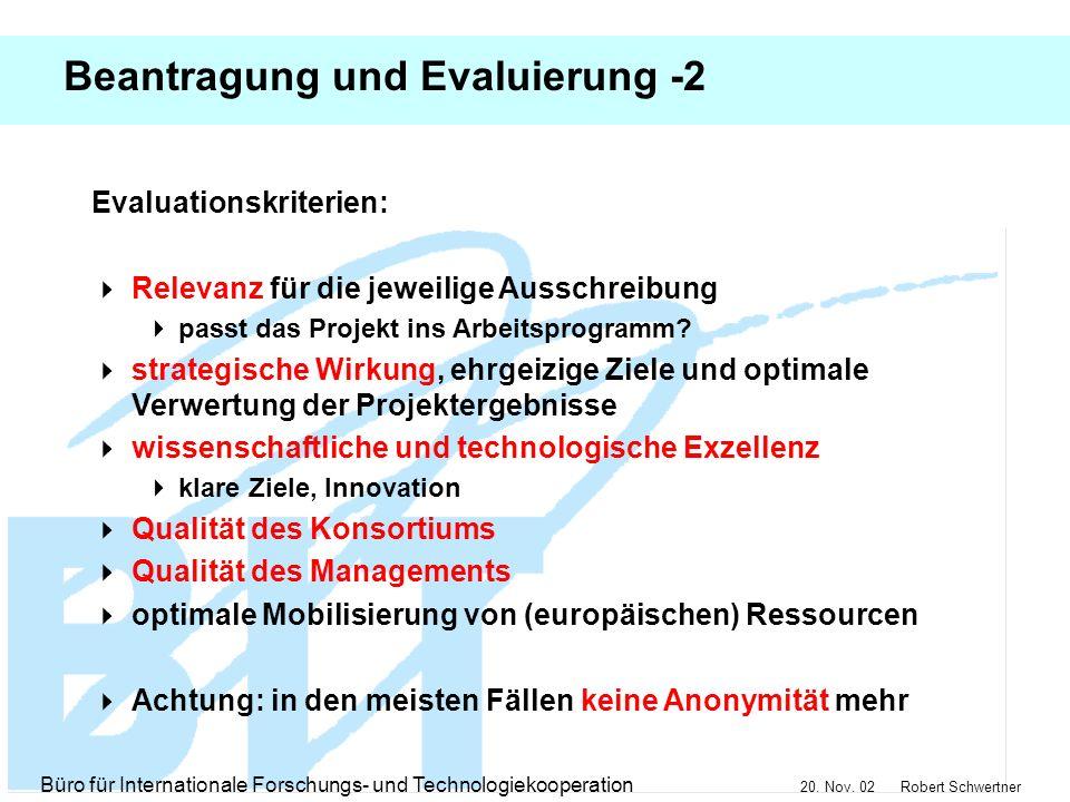 Beantragung und Evaluierung -2