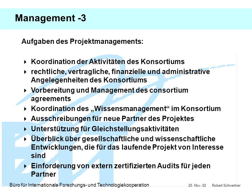 Management -3 Aufgaben des Projektmanagements: