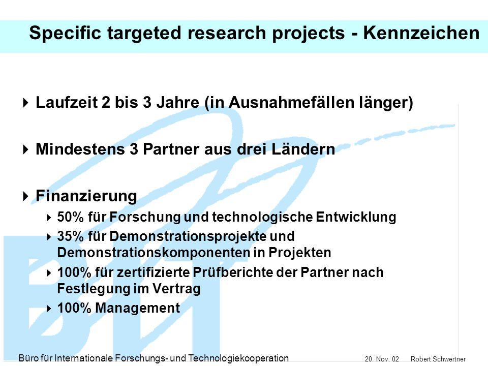 Specific targeted research projects - Kennzeichen