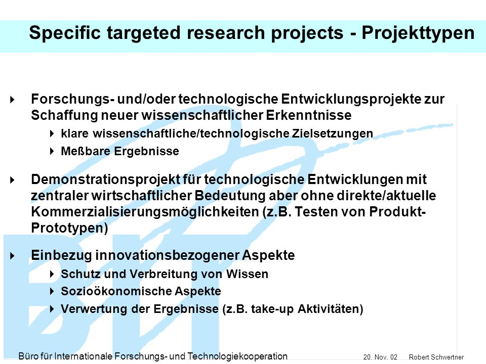 Specific targeted research projects - Projekttypen