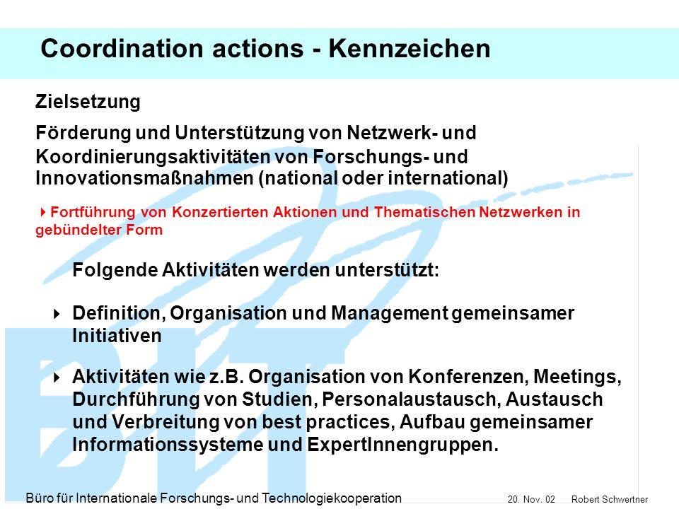 Coordination actions - Kennzeichen
