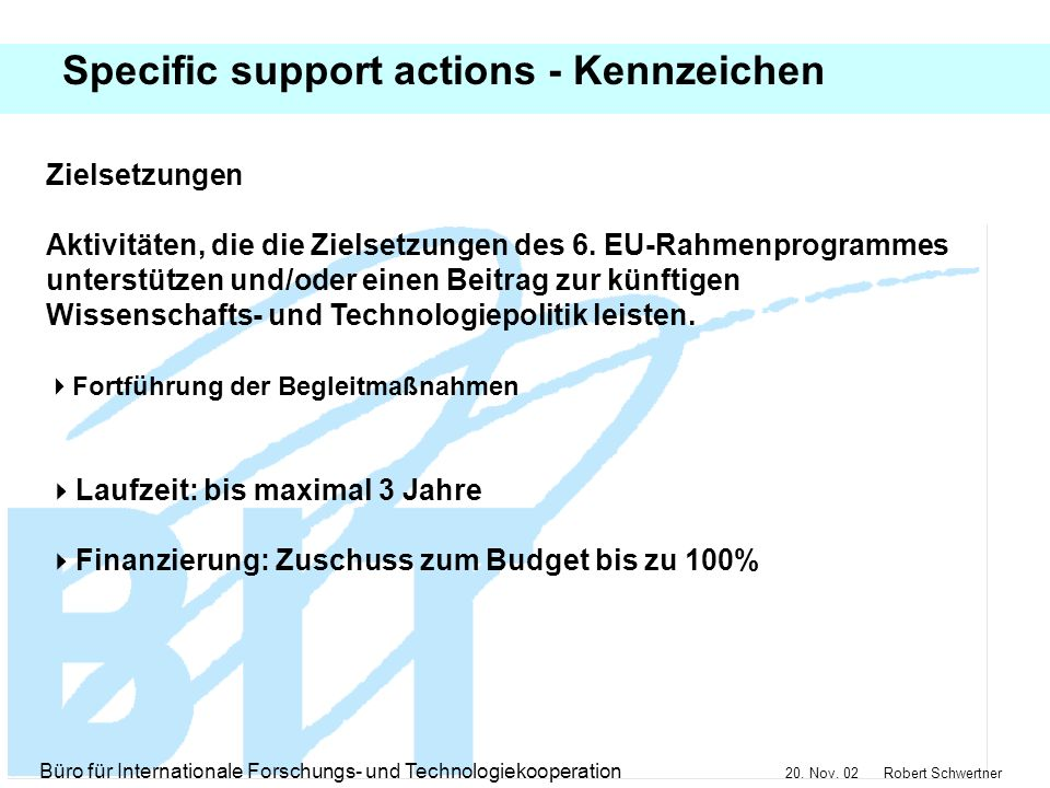 Specific support actions - Kennzeichen