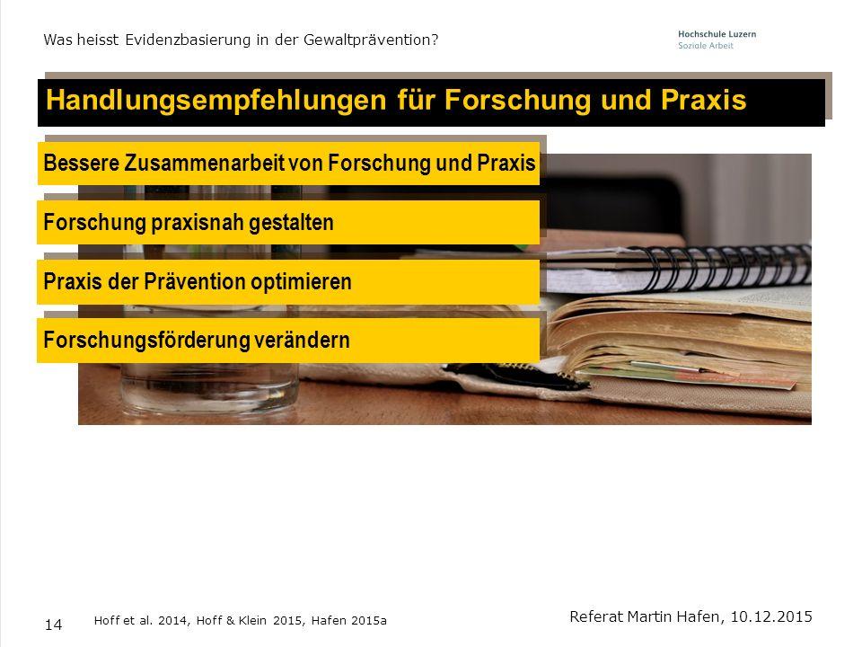 Handlungsempfehlungen für Forschung und Praxis