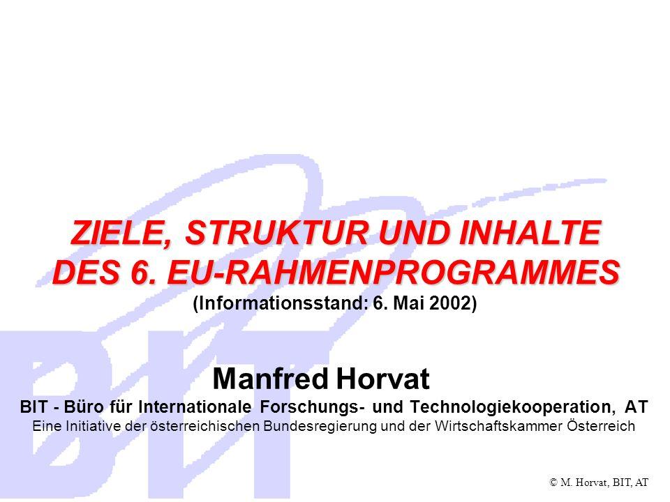 ZIELE, STRUKTUR UND INHALTE DES 6. EU-RAHMENPROGRAMMES