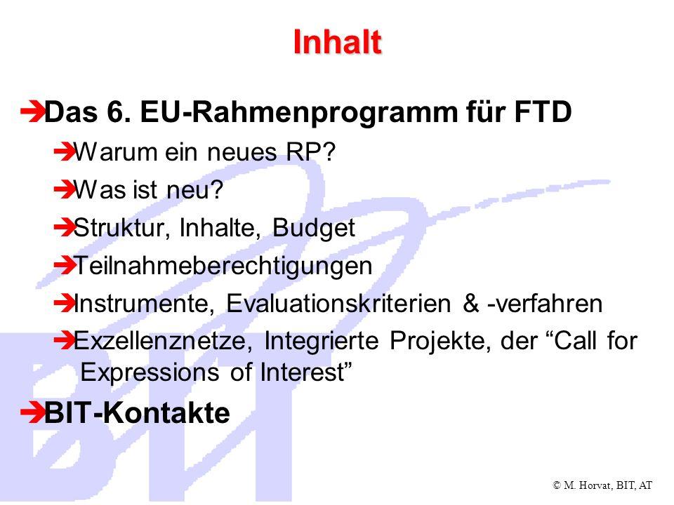 Inhalt Das 6. EU-Rahmenprogramm für FTD BIT-Kontakte