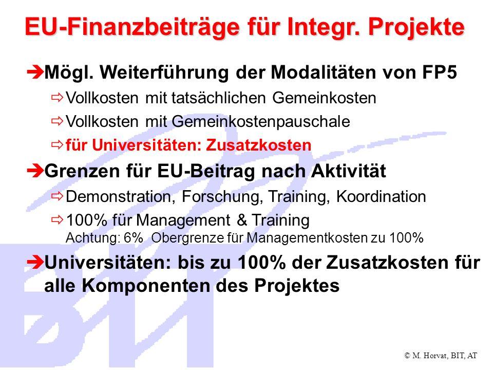 EU-Finanzbeiträge für Integr. Projekte