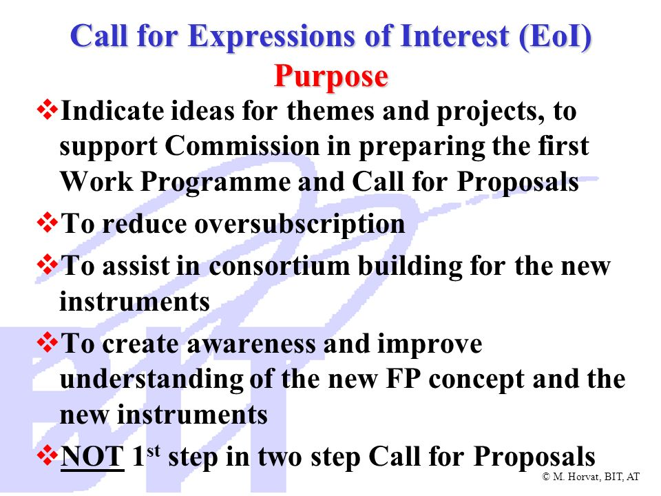 Call for Expressions of Interest (EoI) Purpose