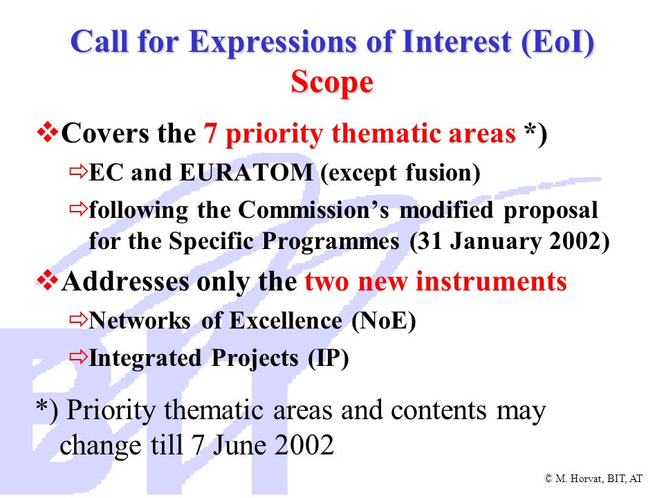 Call for Expressions of Interest (EoI) Scope