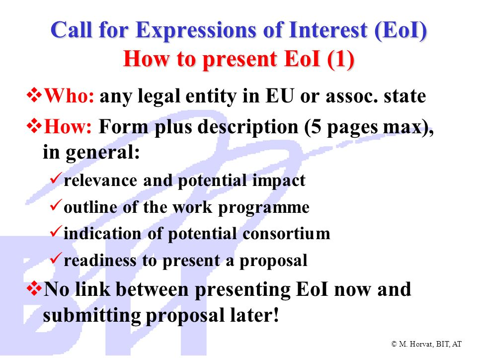 Call for Expressions of Interest (EoI) How to present EoI (1)