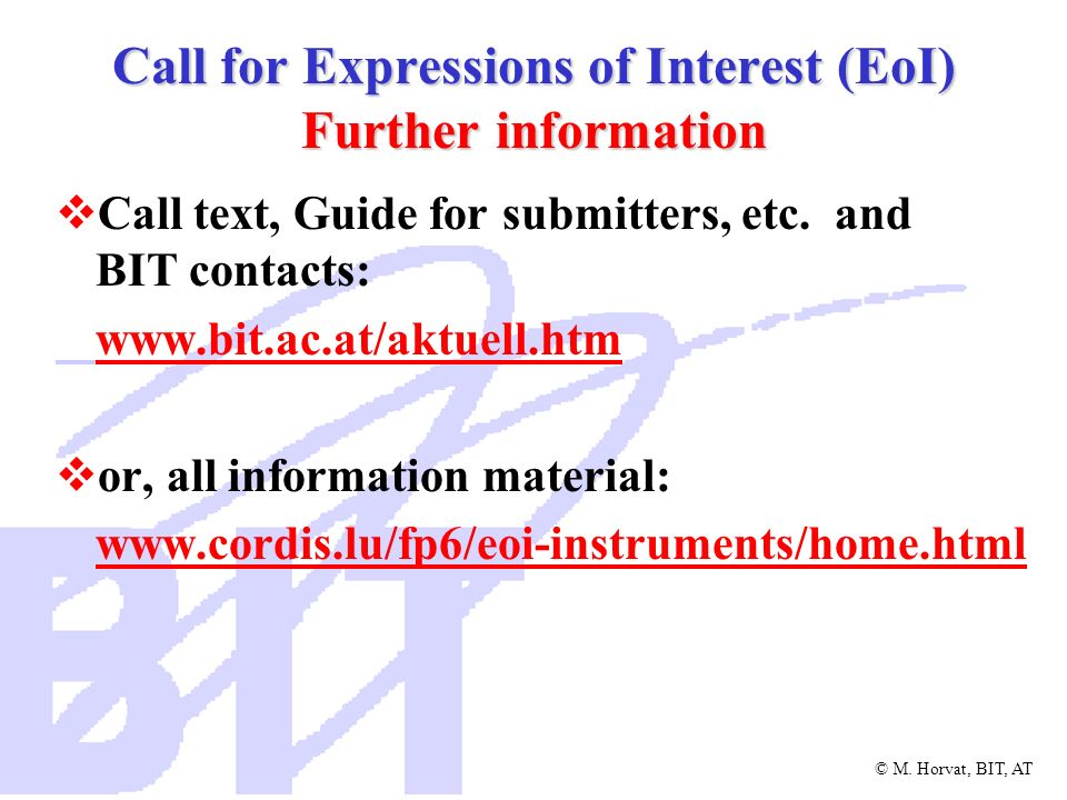 Call for Expressions of Interest (EoI) Further information