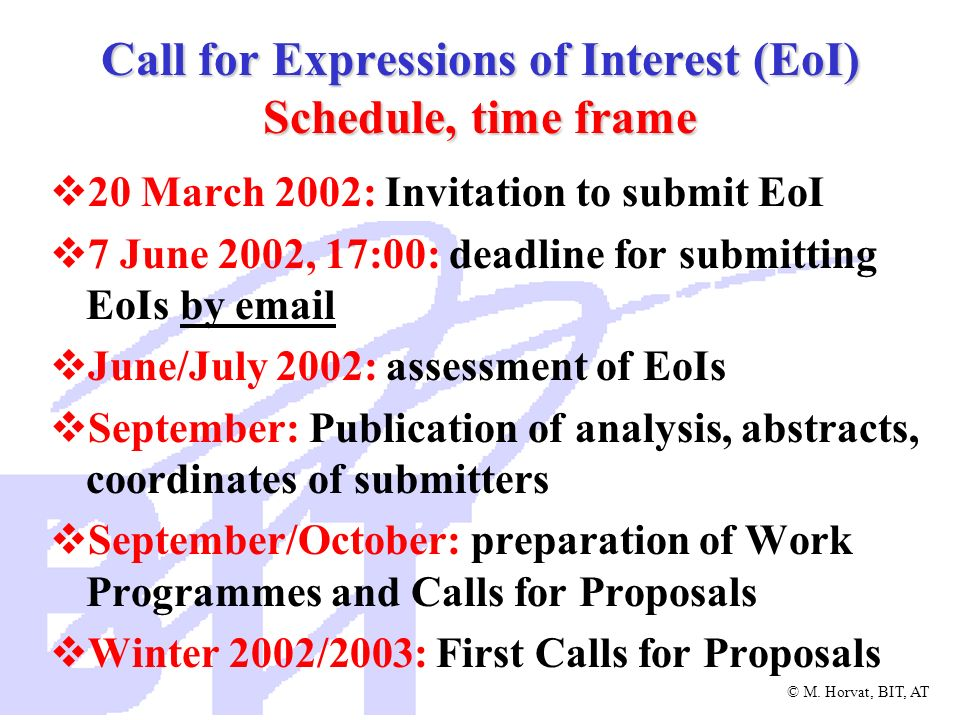 Call for Expressions of Interest (EoI) Schedule, time frame