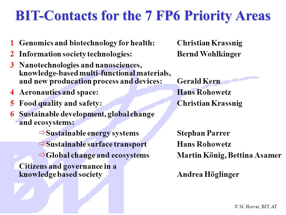 BIT-Contacts for the 7 FP6 Priority Areas