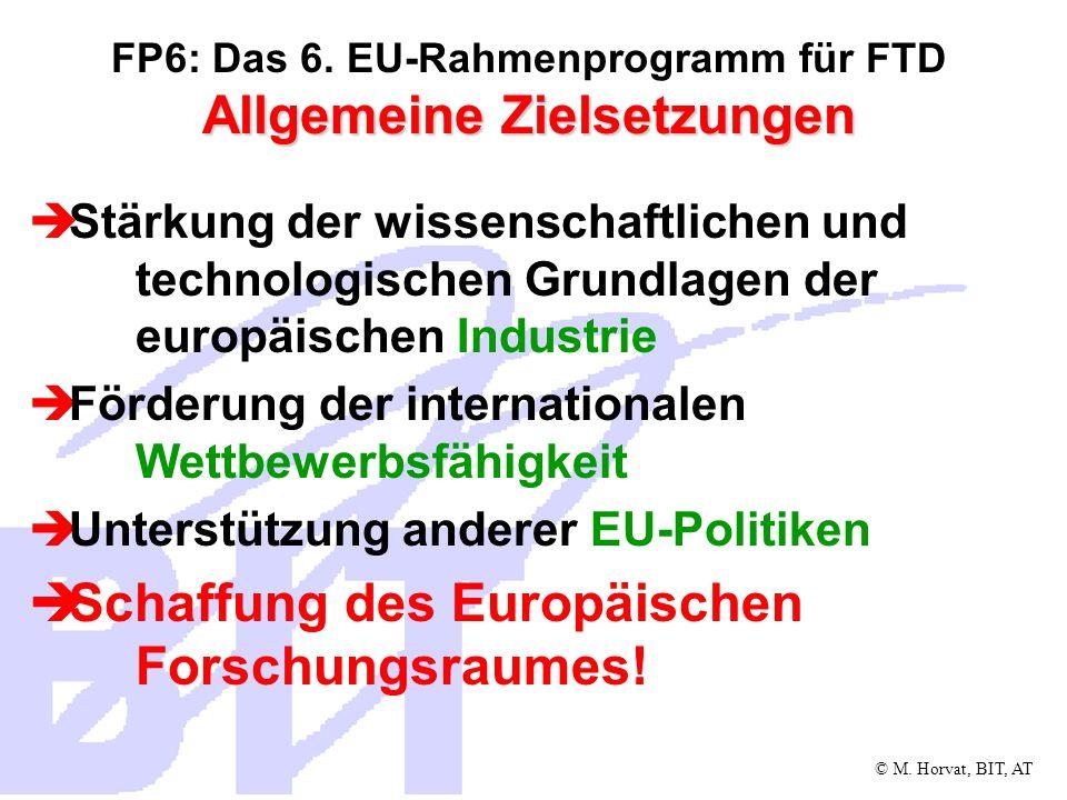 FP6: Das 6. EU-Rahmenprogramm für FTD Allgemeine Zielsetzungen