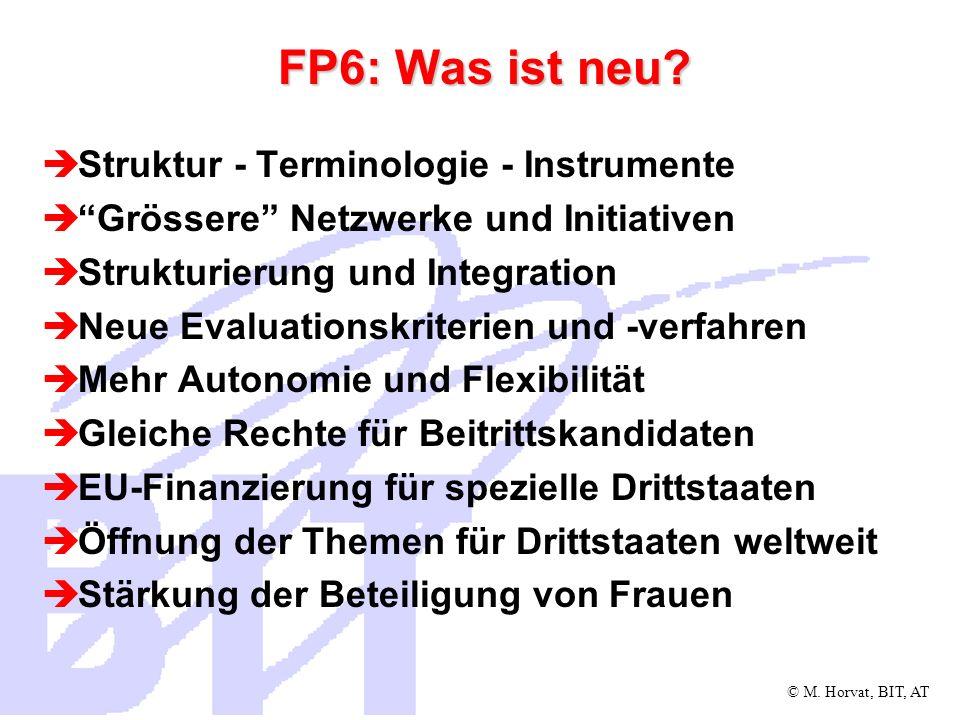 FP6: Was ist neu Struktur - Terminologie - Instrumente