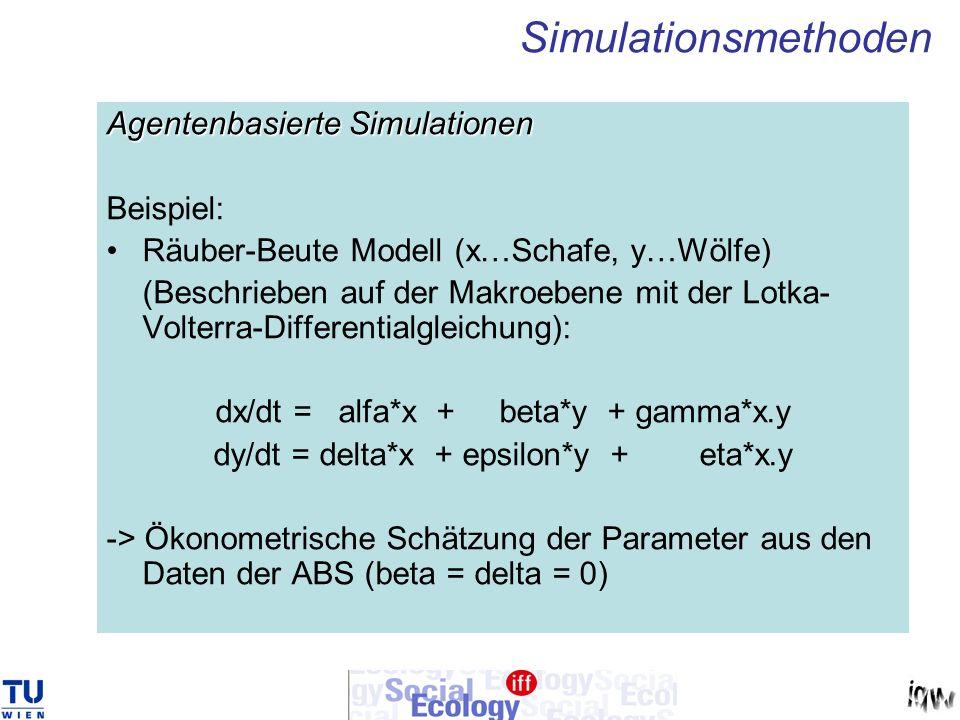 Simulationsmethoden Agentenbasierte Simulationen Beispiel: