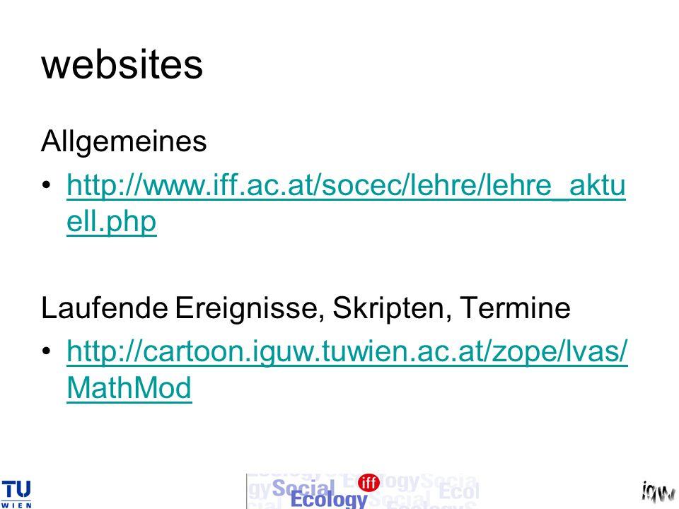 websites Allgemeines. http://www.iff.ac.at/socec/lehre/lehre_aktuell.php. Laufende Ereignisse, Skripten, Termine.