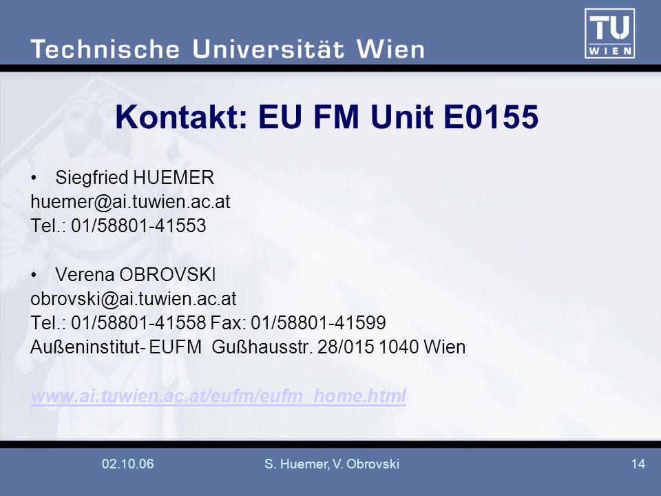 Kontakt: EU FM Unit E0155 Siegfried HUEMER huemer@ai.tuwien.ac.at