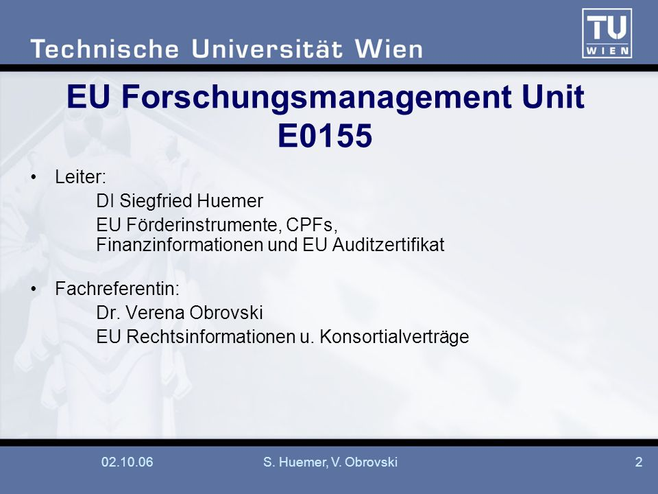 EU Forschungsmanagement Unit E0155
