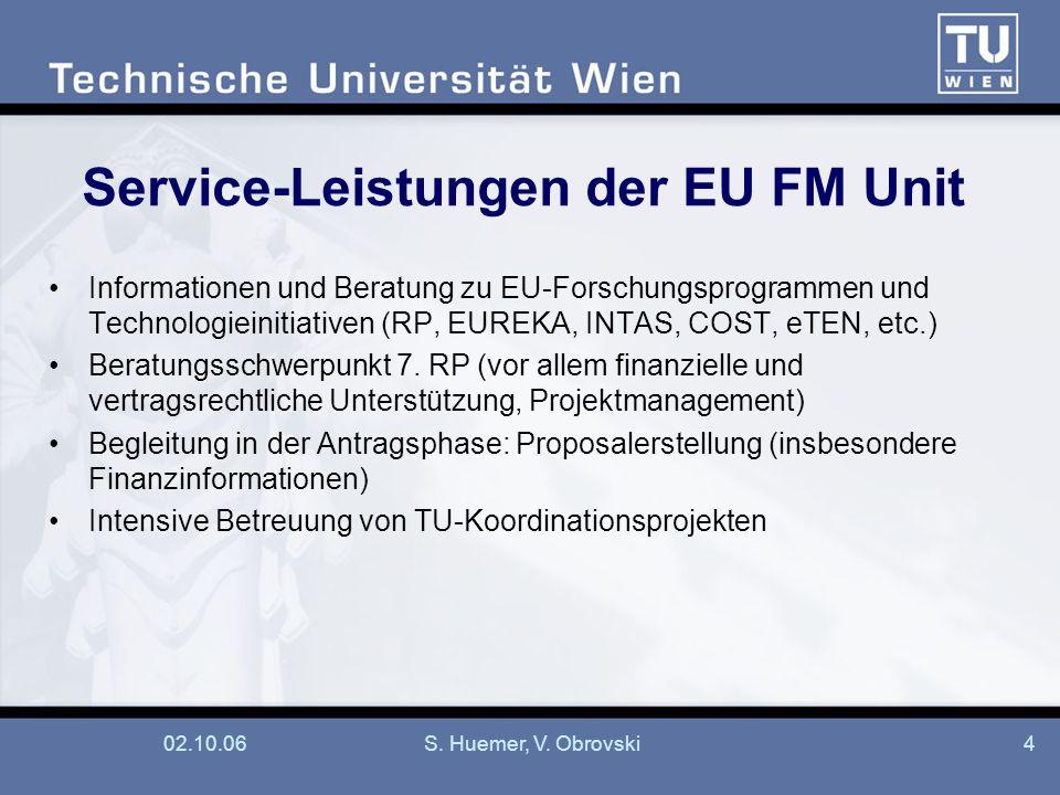 Service-Leistungen der EU FM Unit