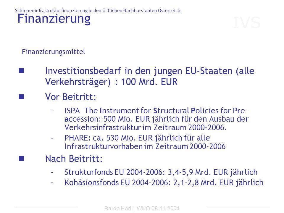 Finanzierung Finanzierungsmittel. Investitionsbedarf in den jungen EU-Staaten (alle Verkehrsträger) : 100 Mrd. EUR.