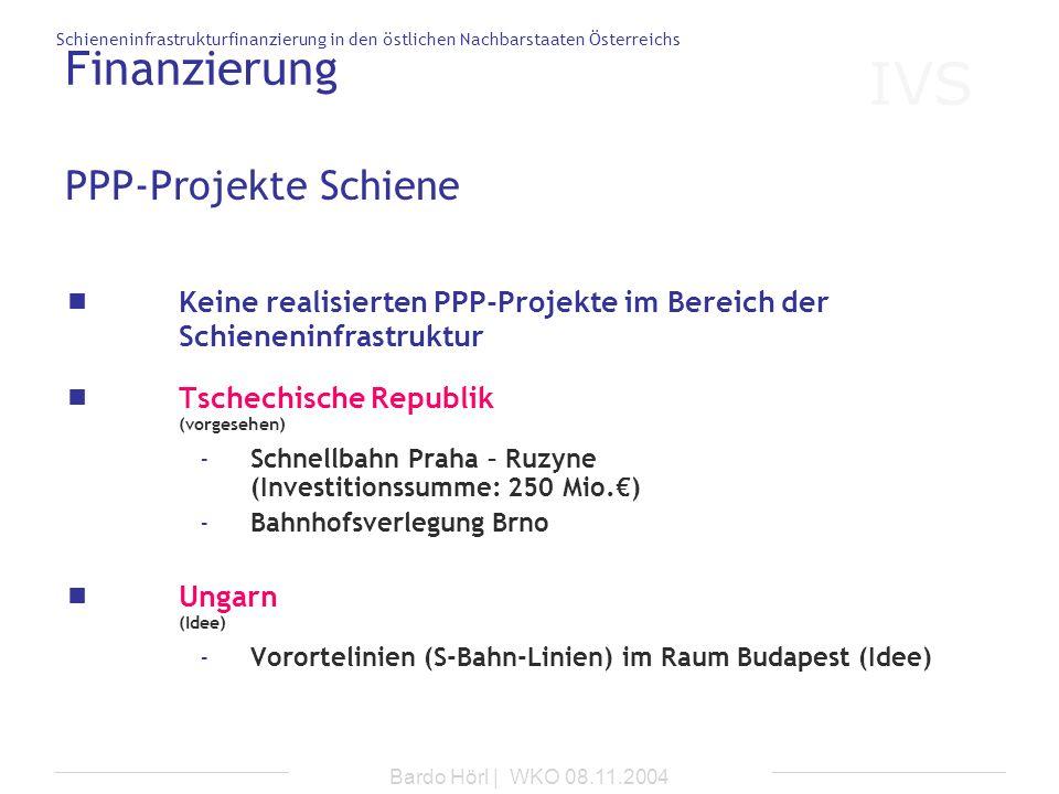 Finanzierung PPP-Projekte Schiene