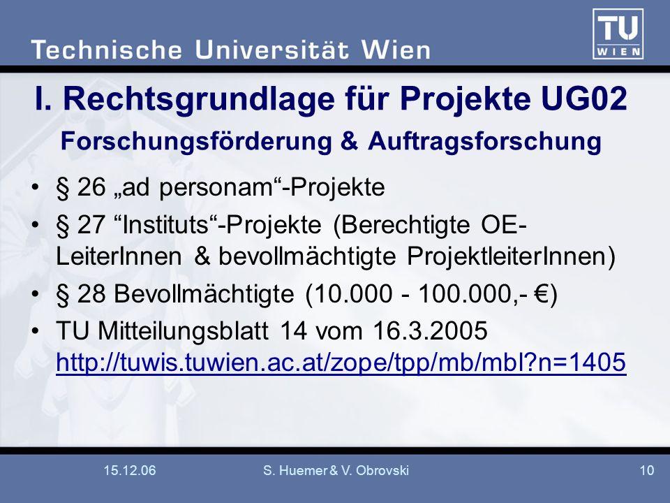I. Rechtsgrundlage für Projekte UG02 Forschungsförderung & Auftragsforschung