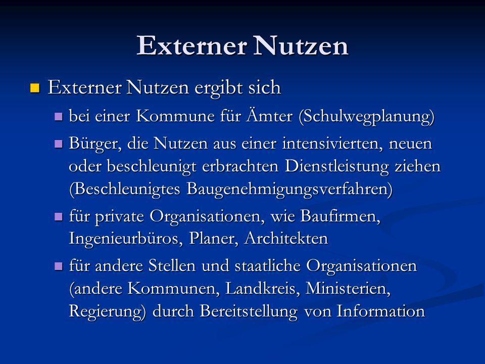 Externer Nutzen Externer Nutzen ergibt sich