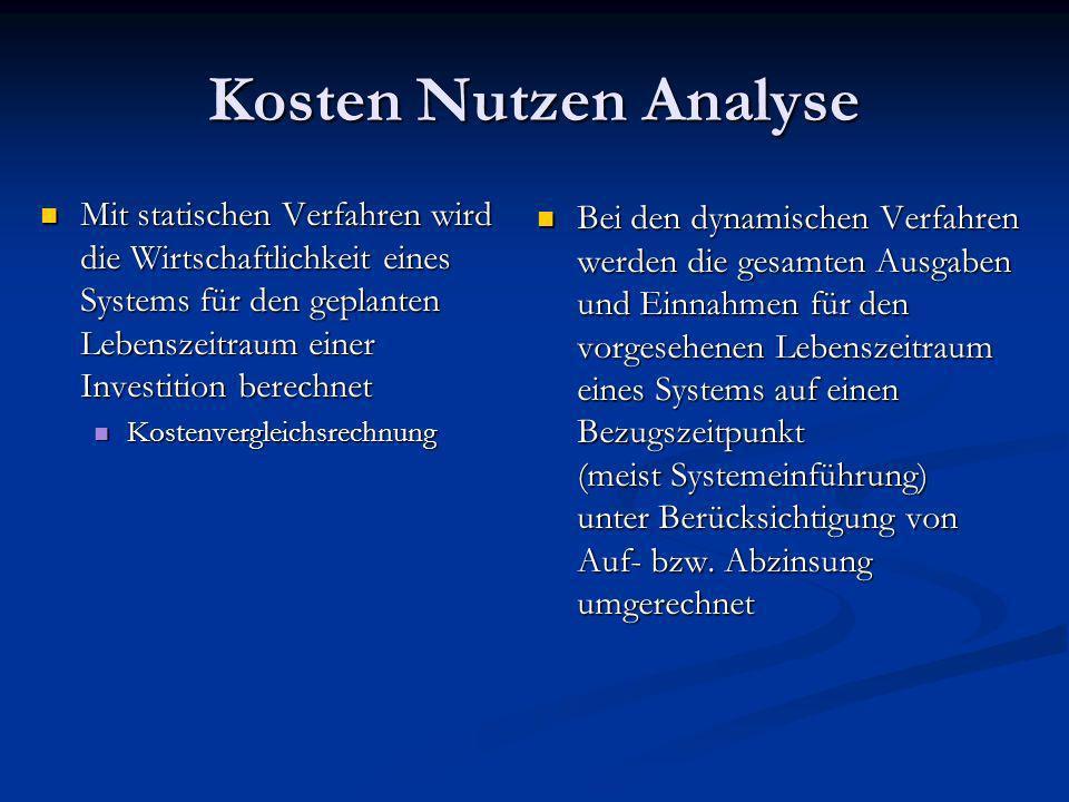 Kosten Nutzen Analyse Mit statischen Verfahren wird die Wirtschaftlichkeit eines Systems für den geplanten Lebenszeitraum einer Investition berechnet.