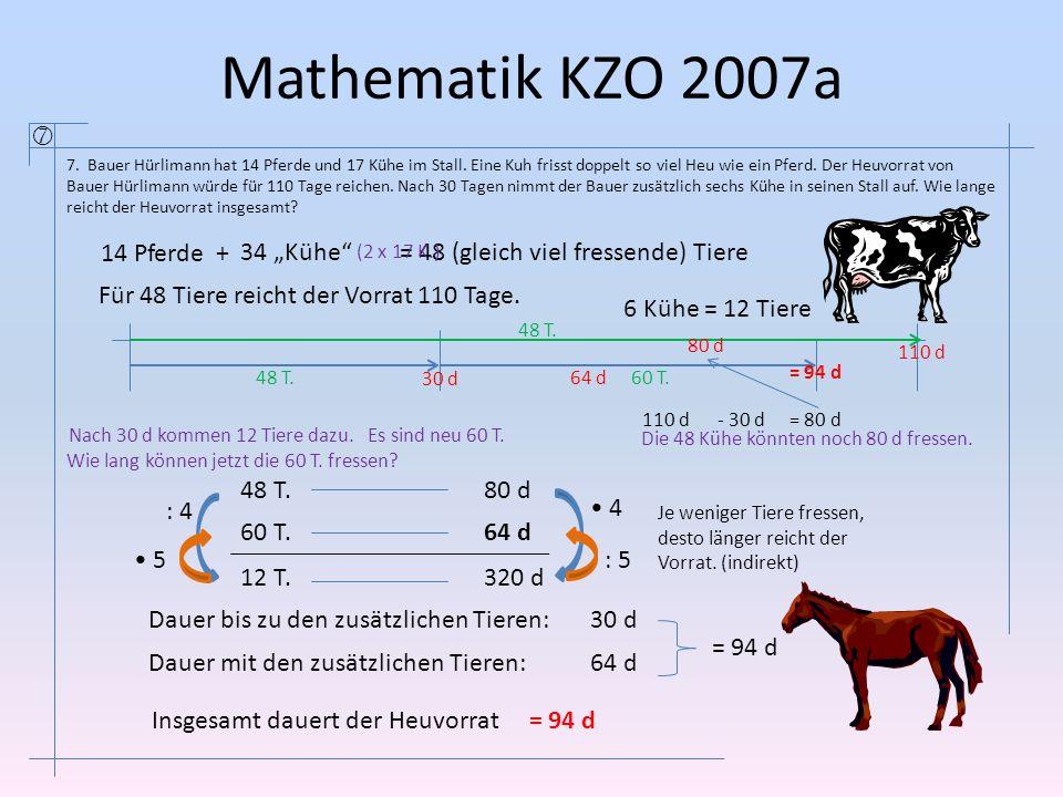 """Mathematik KZO 2007a  14 Pferde + 34 """"Kühe"""
