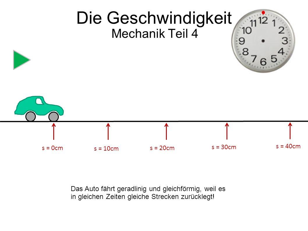 Die Geschwindigkeit Mechanik Teil 4 s = 0cm s = 10cm s = 20cm s = 30cm