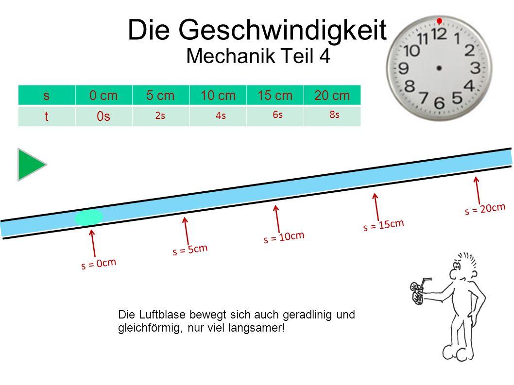 Die Geschwindigkeit Mechanik Teil 4 s 0 cm 5 cm 10 cm 15 cm 20 cm t 0s