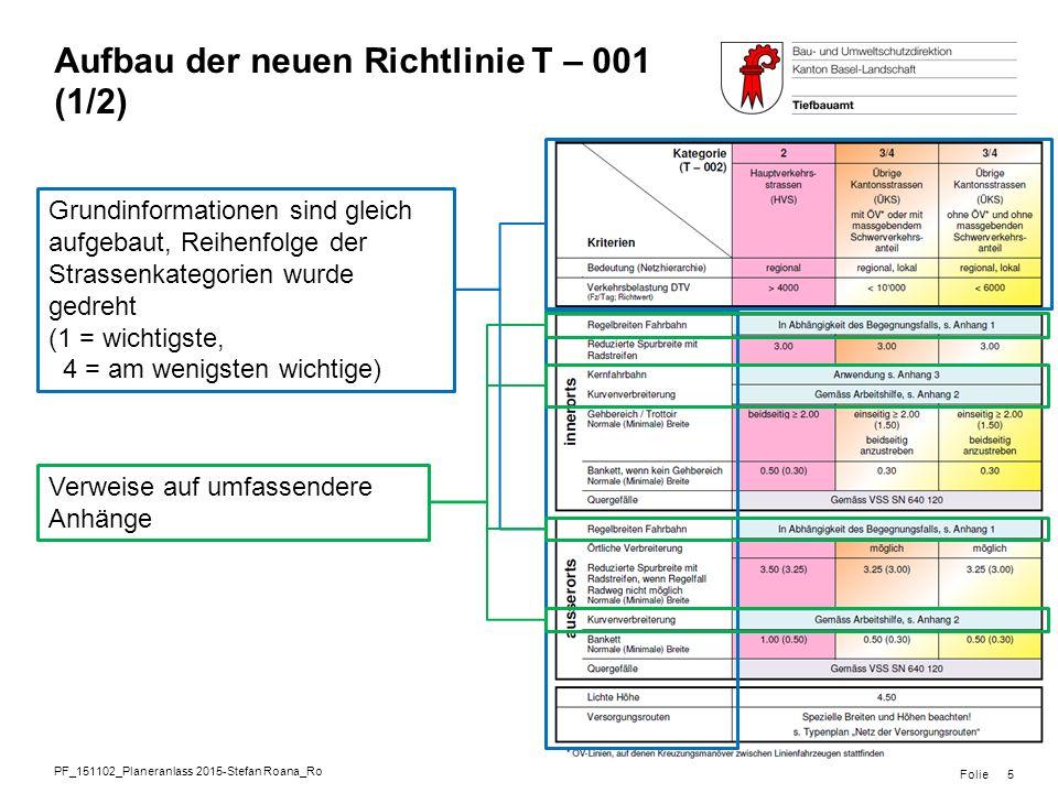 Aufbau der neuen Richtlinie T – 001 (1/2)