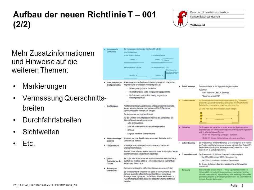 Aufbau der neuen Richtlinie T – 001 (2/2)