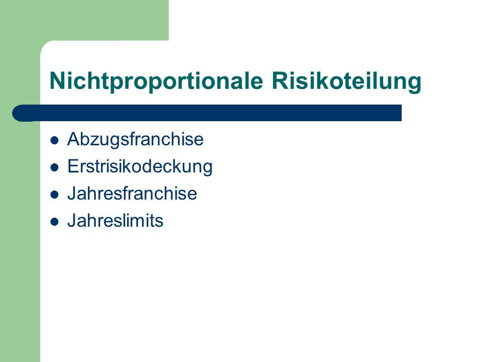 Nichtproportionale Risikoteilung