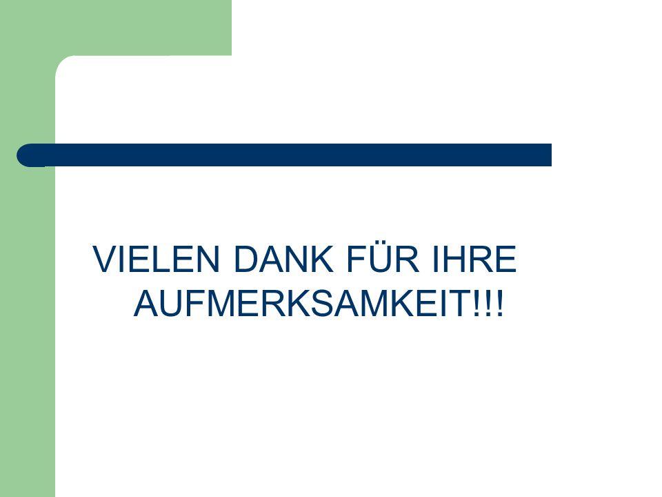 VIELEN DANK FÜR IHRE AUFMERKSAMKEIT!!!