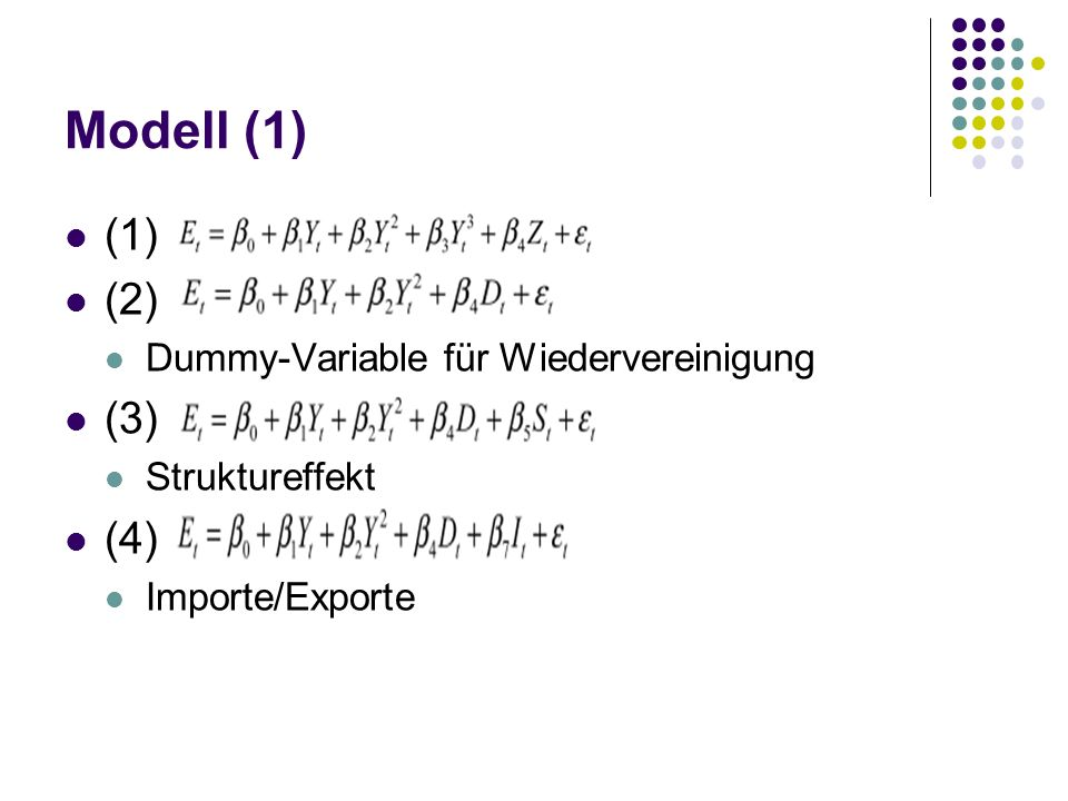Modell (1) (1) d (2) (3) (4) Dummy-Variable für Wiedervereinigung