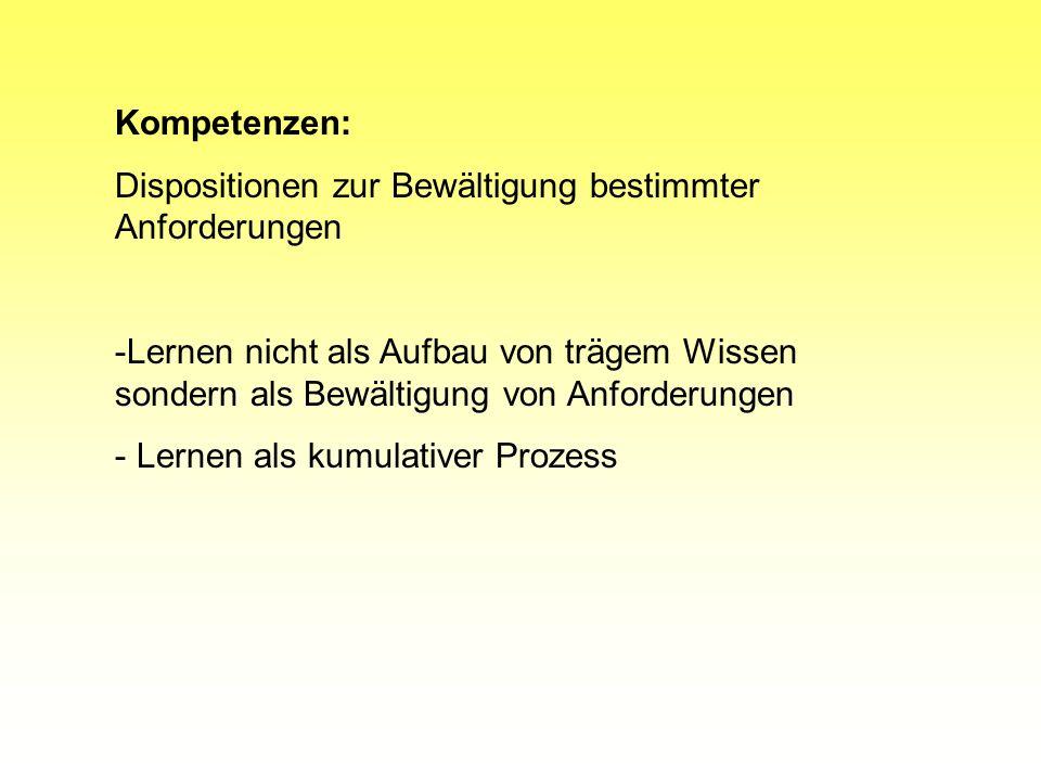 Kompetenzen: Dispositionen zur Bewältigung bestimmter Anforderungen.