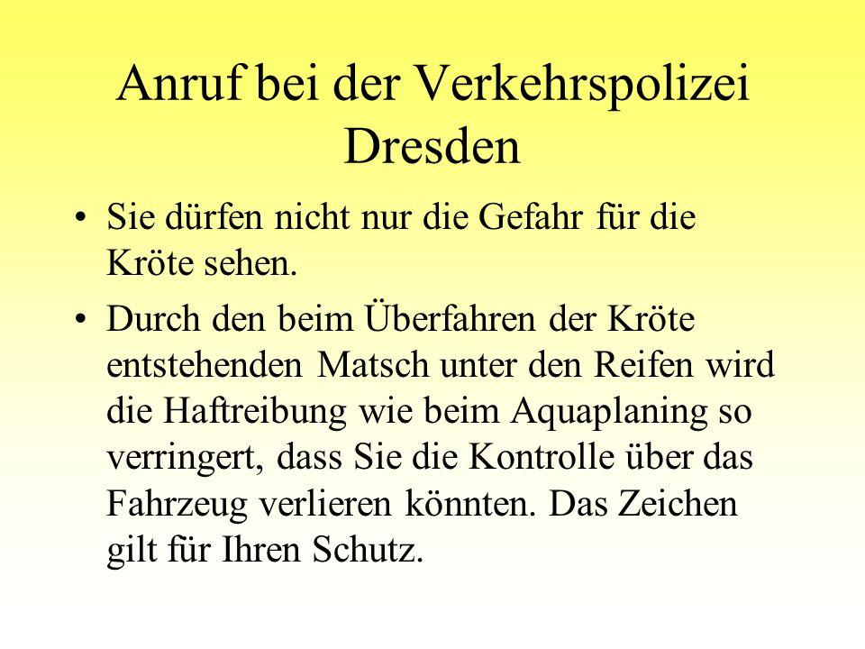 Anruf bei der Verkehrspolizei Dresden