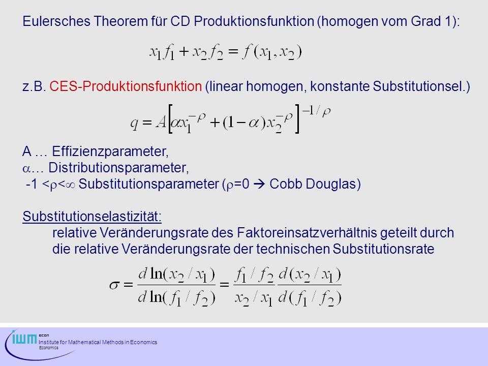 Eulersches Theorem für CD Produktionsfunktion (homogen vom Grad 1):