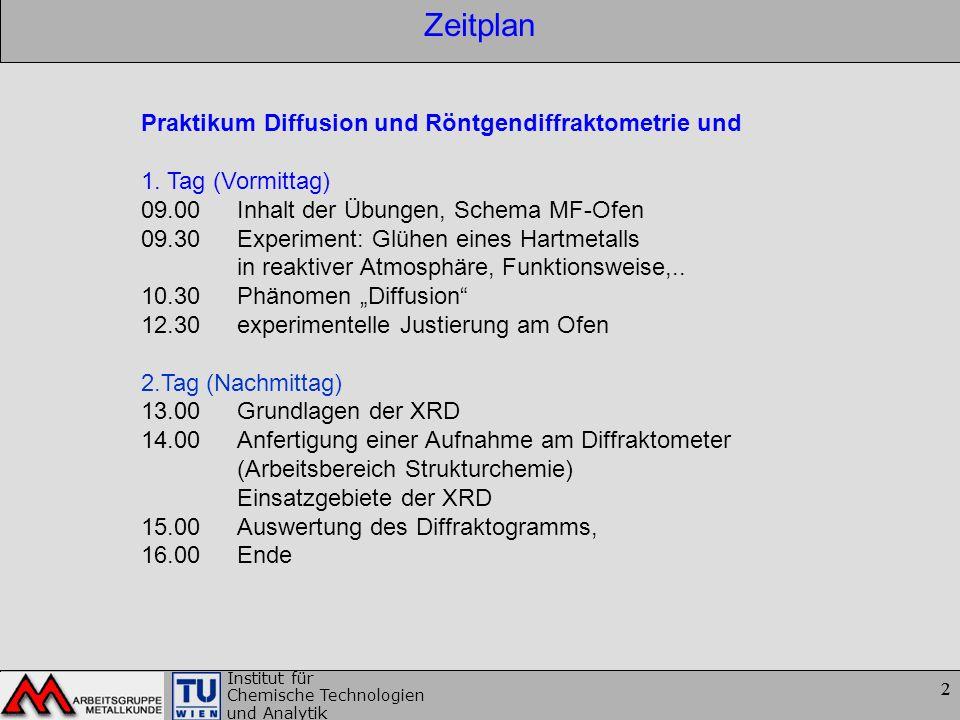 Zeitplan Praktikum Diffusion und Röntgendiffraktometrie und