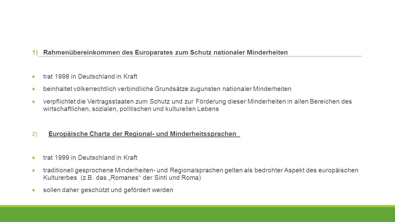 Rahmenübereinkommen des Europarates zum Schutz nationaler Minderheiten
