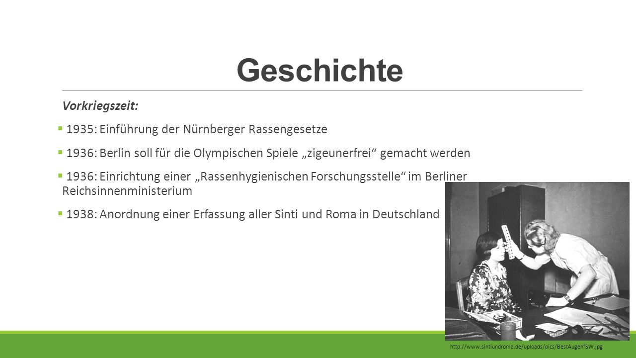 Geschichte Vorkriegszeit: