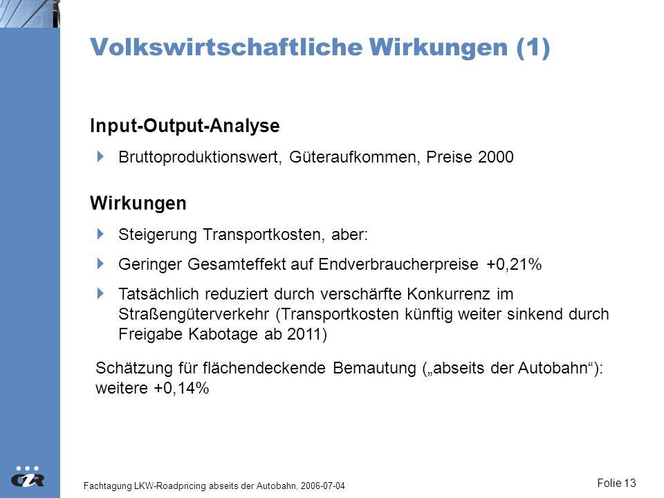 Volkswirtschaftliche Wirkungen (1)