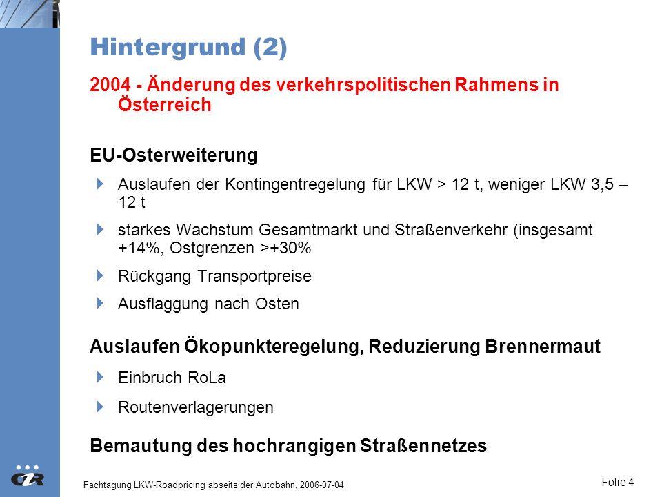 Hintergrund (2) 2004 - Änderung des verkehrspolitischen Rahmens in Österreich. EU-Osterweiterung.
