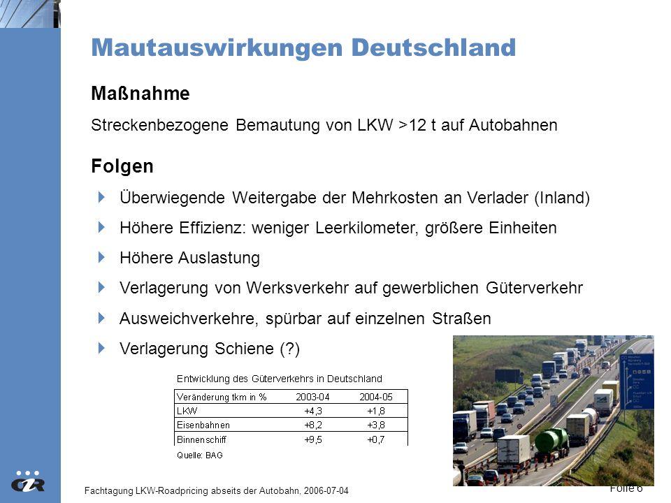 Mautauswirkungen Deutschland